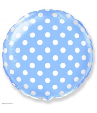Шар (18''/46 см) Круг, Белые точки, Голубой