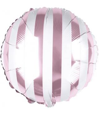 Шар (18''/46 см) Круг, Белые полосы, Розовый