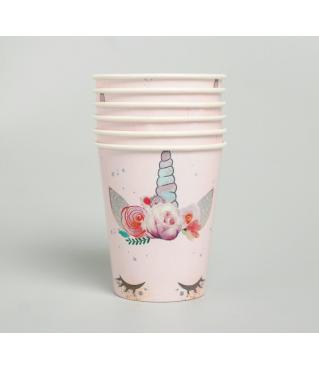 """Набор бумажной посуды """"Единорог"""", 6 тарелок, 6 стаканов, 6 колпаков, 1 гирлянда"""