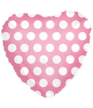 Воздушный шар (18''/46 см) Сердце, В белый горошек, Розовый