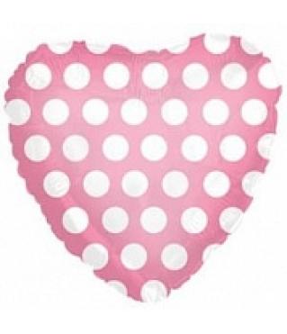 Шар (18''/46 см) Сердце, Белые точки, Розовый