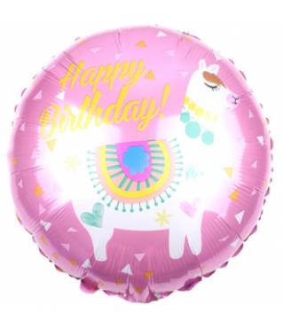 Шар (18''/46 см) Круг, С Днем Рождения! (лама), Розовый