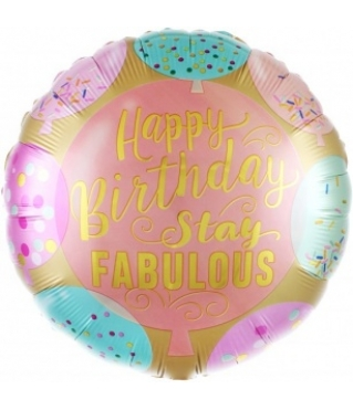 Шар (18''/46 см) Круг, Сказочного Дня Рождения (разноцветное конфетти и воздушные шарики),