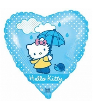 Шар (18''/46 см) Сердце, Котенок с зонтиком, Голубой