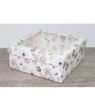 Коробка подарочная 19*19*8 см, дизайн 2020-10, полноцветная с окном