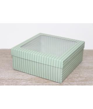 Коробка подарочная 19*19*8 см, дизайн 2020-9, полноцветная с окном