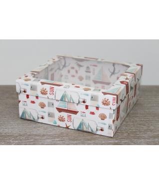 Коробка подарочная 19*19*8 см, дизайн 2020-6, полноцветная с окном
