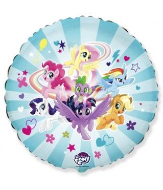 Шар (18''/46 см) Круг, My Little Pony, Дружные Лошадки, Голубой