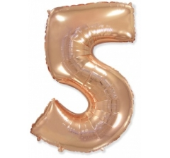 Цифра 5, размер 102 см,Розовое золото