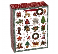 Пакет подарочный 33*26*11см, Новогодние предметы