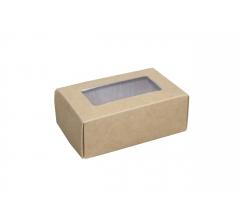 Размер 100*60*40 мм, крафт коробка с окном