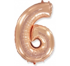 Цифра 6, размер 102 см,Розовое золото