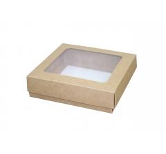 Коробка с окном 15*15*4 см, крафт