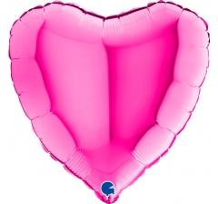 """Шар (18""""/46 см) Сердце, Magenta, 1шт; Grabo."""