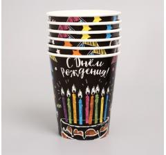 """Набор бумажной посуды """"С днем рождения, мелом"""" (6 тарелок , 1 гирлянда , 6 стаканов, 6 колпачков."""