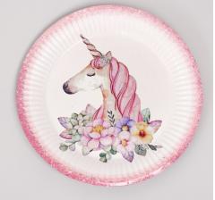 Бумажная посуда «Единорог с цветами», набор 6 тарелок, 1 гирлянда, 6 стаканов, 6 колпаков