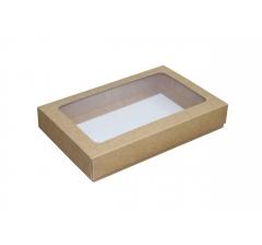 Размер 230*150*40 мм, крафт коробка с окном
