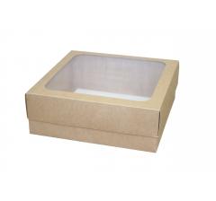 Размер 230*230*80 мм, крафт коробка с окном