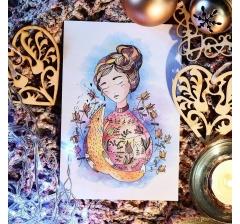 """открытка """"девушка с лисой"""""""