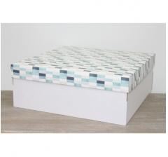 Коробка подарочная 350*350*150 мм, дизайн 2020-2 белое дно