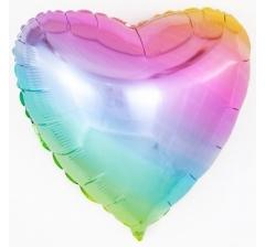 Шар (18''/46 см) Сердце, Нежная радуга, Градиент