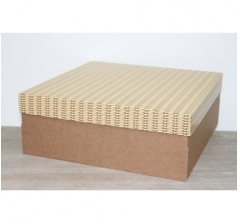 Коробка подарочная 350*350*150 мм, дизайн 2020-3 крафт дно