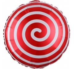 Воздушный шар (18''/46 см) Круг, Леденец Спираль, Красный