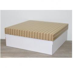 Коробка подарочная 350*350*150 мм, дизайн 2020-3 белое дно