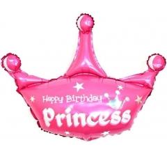 Шар (37''/94 см) Фигура, Корона, С Днем Рождения, Принцесса, Розовый