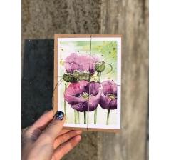 акварельная открытка в крафт конверте №3