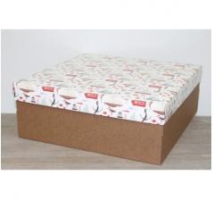 Коробка подарочная 350*350*150 мм, дизайн 2020-6 крафт дно
