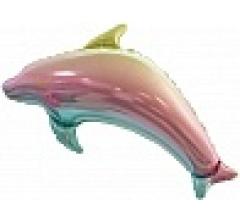 Шар (39''/99 см) Фигура, Дельфин, Радужный, Градиент