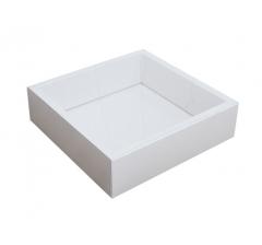 Коробка 225*225*55 мм с прозрачной крышкой, белое дно