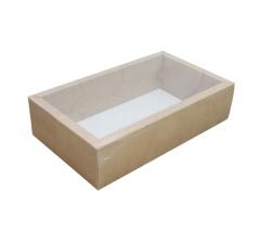 Коробка 310*180*80 мм с прозрачной крышкой, крафт дно