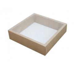 Коробка 225*225*55 мм с прозрачной крышкой, крафт дно