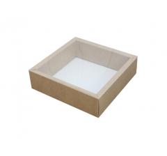 Коробка 175*175*50 мм с прозрачной крышкой, крафт дно