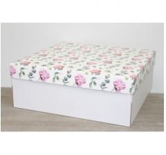 Коробка подарочная 350*350*150 мм, дизайн 2020-9 белое дно
