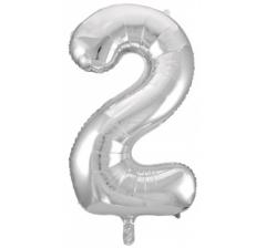 Цифра 2 , размер 102 см, серебро