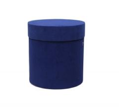 Коробка бархатная-люкс, d-110, h-120, синяя