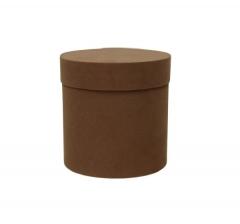 Коробка бархатная-люкс, d-110, h-120, коричневая