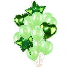Связка шаров (4 фольгированных и 10 латексных) зеленые
