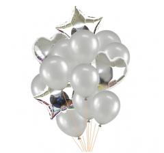 Связка шаров (4 фольгированных и 10 латексных хром) серебро