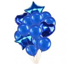 Связка шаров (4 фольгированных и 10 латексных) синие
