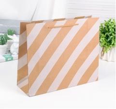 Крафт пакет, белая диагональ, размер 25*10*31 см