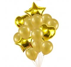 Связка шаров (4 фольгированных и 10 латексных хром) золото