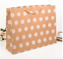 Крафт пакет в белых горох, размер 37*14*49 см