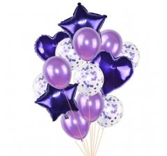 Связка шаров (4 фольгированных, 5 латексных и 5 с конфетти) фиолетовые)