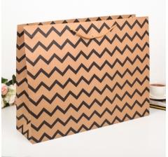 Крафт пакет с чёрным зигзагом, размер 37*14*49 см