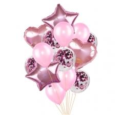 Связка шаров (4 фольгированных, 5 латексных и 5 с конфетти) розовые