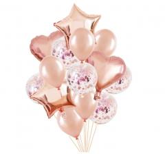 Связка шаров (4 фольгированных, 5 латексных и 5 с конфетти) персик